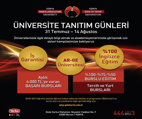 Konya Gıda ve Tarım Üniversitesi Tanıtım Günleri Başlıyor