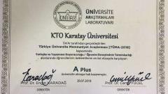KTO Karatay, A Plus Üniversiteler Arasında Yerini Aldı